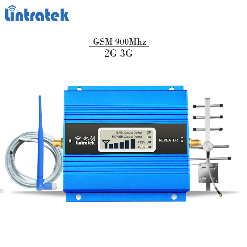 Lintratek signal repeater gsm 900Mhz signal booster gsm mini mobile signal amplifier 65dBi with LCD disaplay