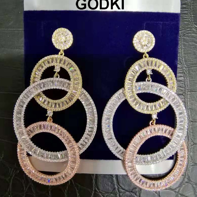 2019 Brand Crystal Pink Long Tassel Earrings Charms Natural Stone Zircon Dangle Earrings For Women Dubai