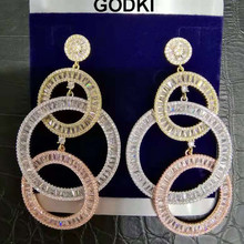 GODKI 73MM Luxury Long Tassels African Dangle Earrings For Women Wedding Cubic Zircon Crystal CZ Dubai Indian Bridal Earrings