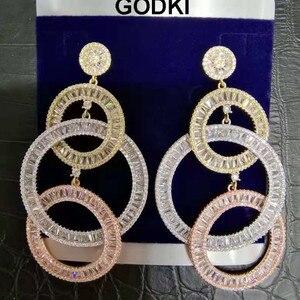 Image 2 - GODKI 73MM יוקרה ארוך גדילים אפריקאי להתנדנד עגילים לנשים חתונה מעוקב זירקון קריסטל CZ דובאי הודי כלה עגילים