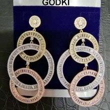 Godki 73mm luxo longo borlas africano balançar brincos para o casamento feminino zircão cúbico cristal cz dubai indiano brincos de noiva