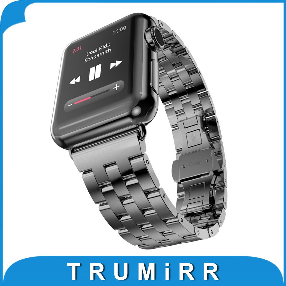 Prix pour Bracelet En Acier inoxydable pour iWatch Apple Watch/Sport/édition 38mm 42mm Poignet de Courroie De Bande Bracelet avec adaptateur Noir argent