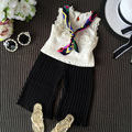 216 summer new girl sweet lace pearl decorative children's Knitted Vest