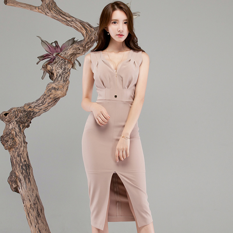 2018 Summer Women Sleeveless V-Neck Cloth High Waist Solid Knee-Length Bodycon Pencil Sexy Work Dress