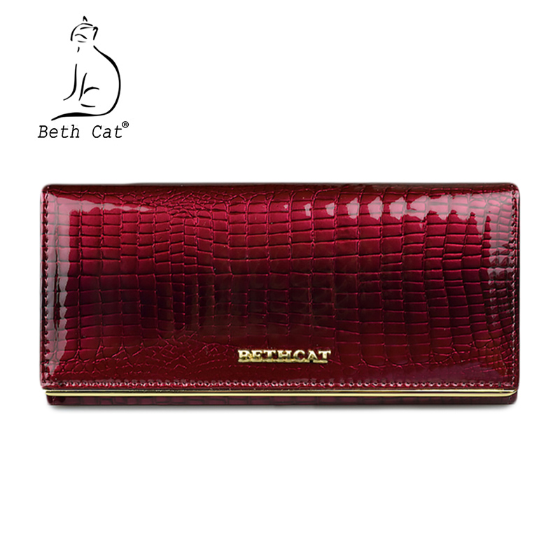 Beth Cat Women Wallet And Purses Genuine Leather Female Coin Card Holder Purse Ladies Money Bags Alligator Cow Wallets