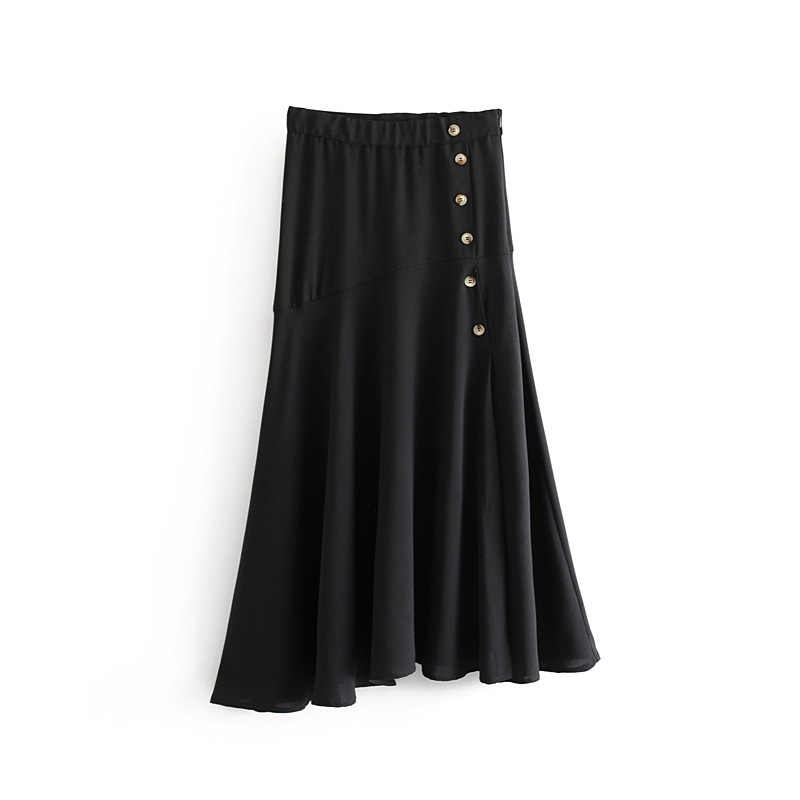 Elastic Linen A Line Long Skirts Womens Buttons Front Zipper Fly Waist Midi Skirt Female Summer Black Skirt Falda Mujer ET7