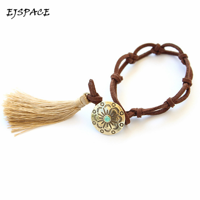 Fashion Handmade National Wind Leather Fringed GemBracelets for Women Friend Bracelet
