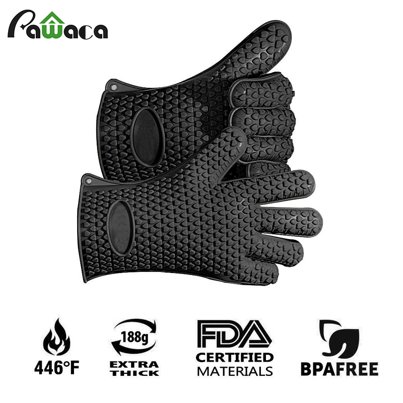 2 PCs BPA Free Food Grade Heat Resistant Thick Barbecue Grilling Glove Kitchen Silicon BBQ Oven Mitt Pot Holder Cooking Glove