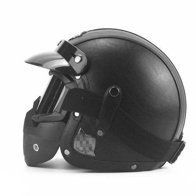 Cuir Harley casques 3/4 moto Chopper casque de vélo visage ouvert vintage moto casque avec masque de lunettes motocross