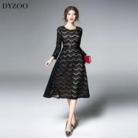 DYZOO 2018 New Fashion Spring Autumn Women Lace Dress Striped Simple Black European Elegant Vestido Slim