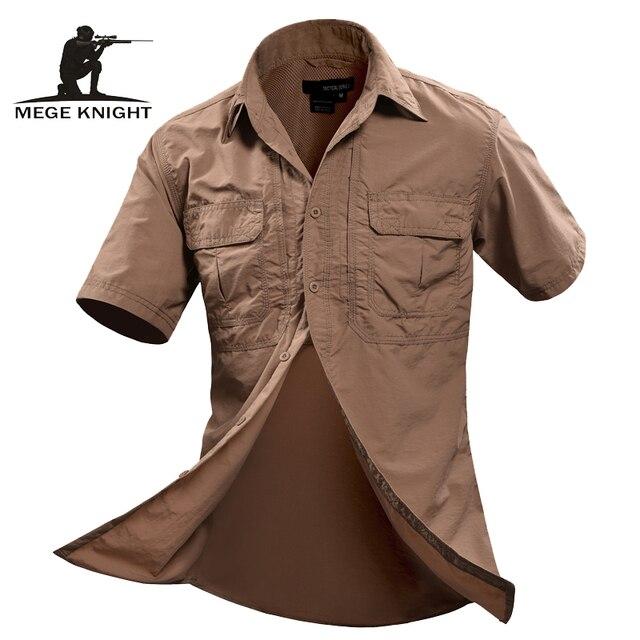 MEGE Летние Мужчины Рубашки Военная Мужчины С Коротким Рукавом Повседневная Рубашка Мужская Марка Социальный Clothing Сорочку Homme Camisa Masculina 2XL