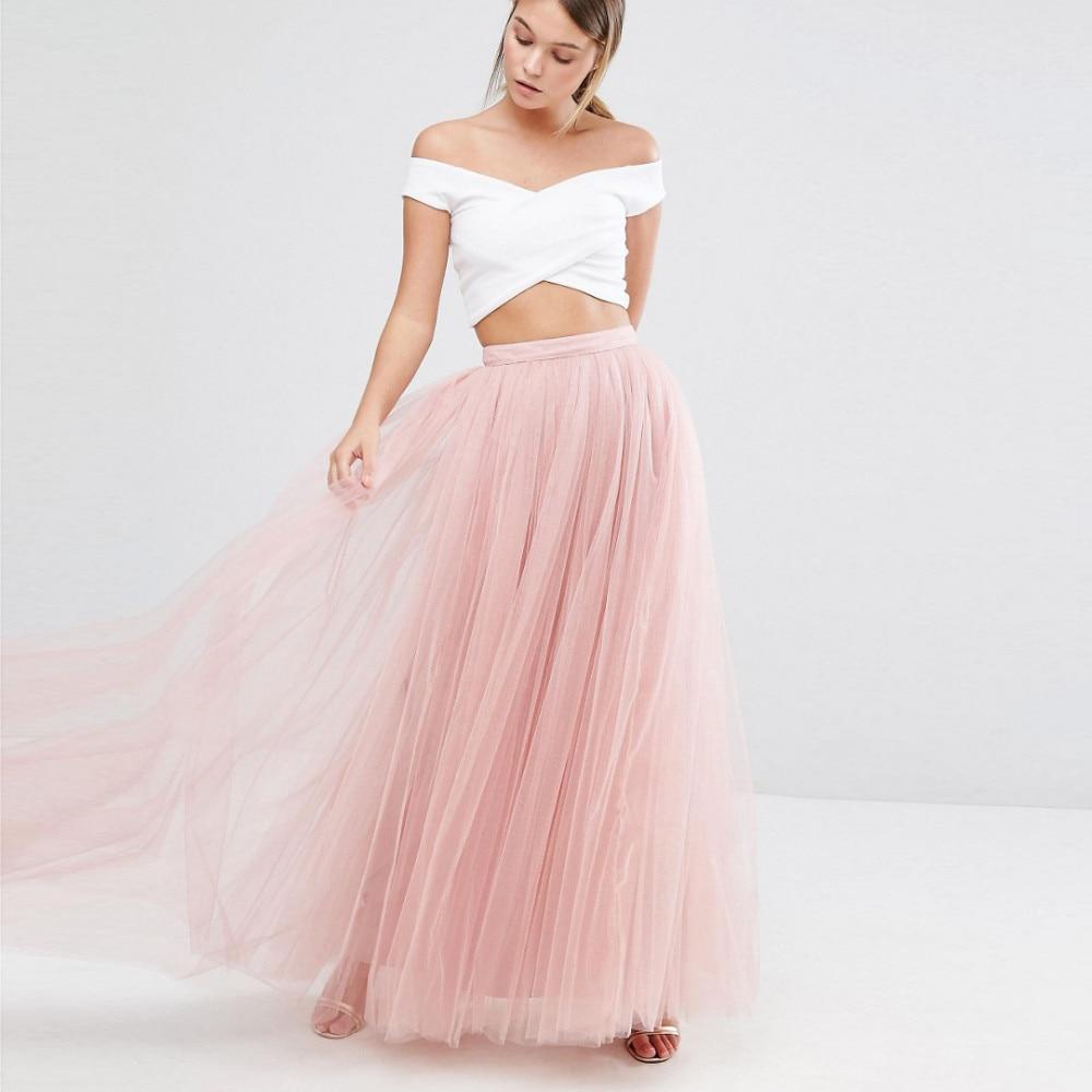 Simple 2 Unidades de dama de Honor Vestidos 2017 Pink Tulle Faldas ...