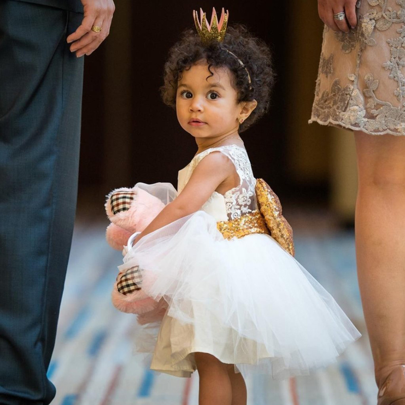 Kids Baby Girl Sequins Boknot Dress Christmas Party Dresses Sundress