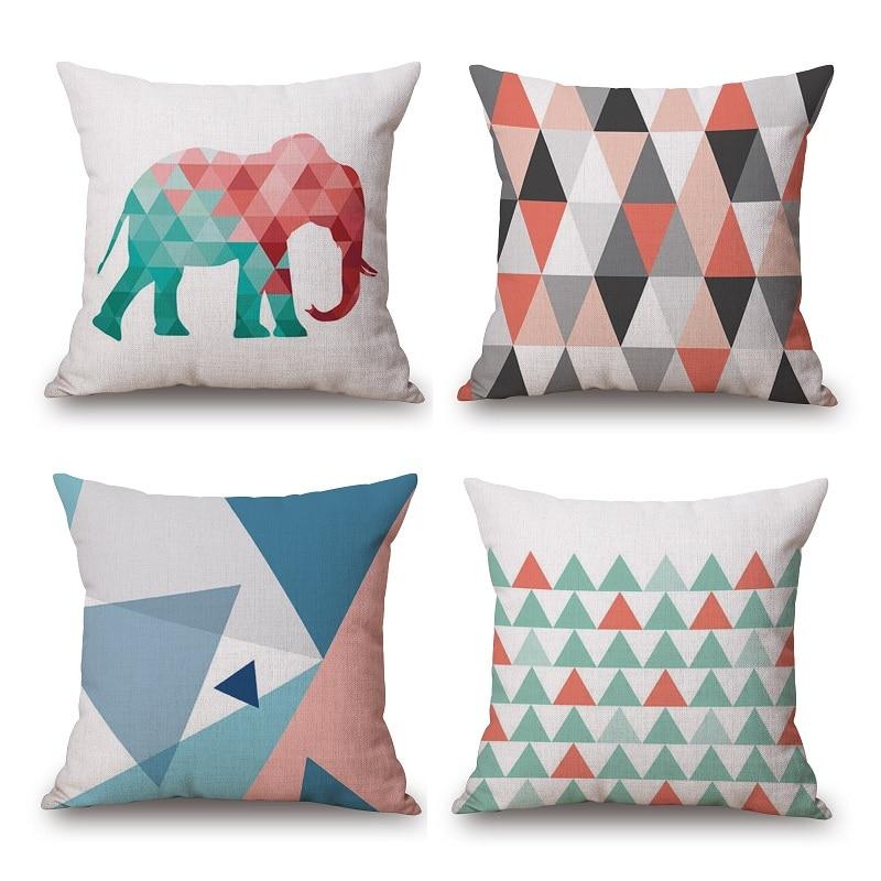 Geometric Elephant Cushion Cover Arrows Circles Beige Pillow Case Thin Linen Cotton 45X45cm Pillow Cover Bedroom Sofa Decoration