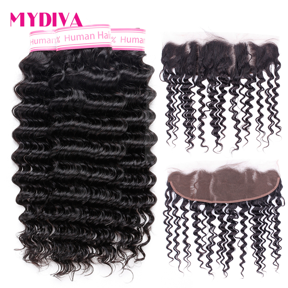 Deep Wave Bundles With Frontal Non Remy Human Hair 3 Bundles With Closure Brazilian Hair Weave Bundles With Frontal Closure