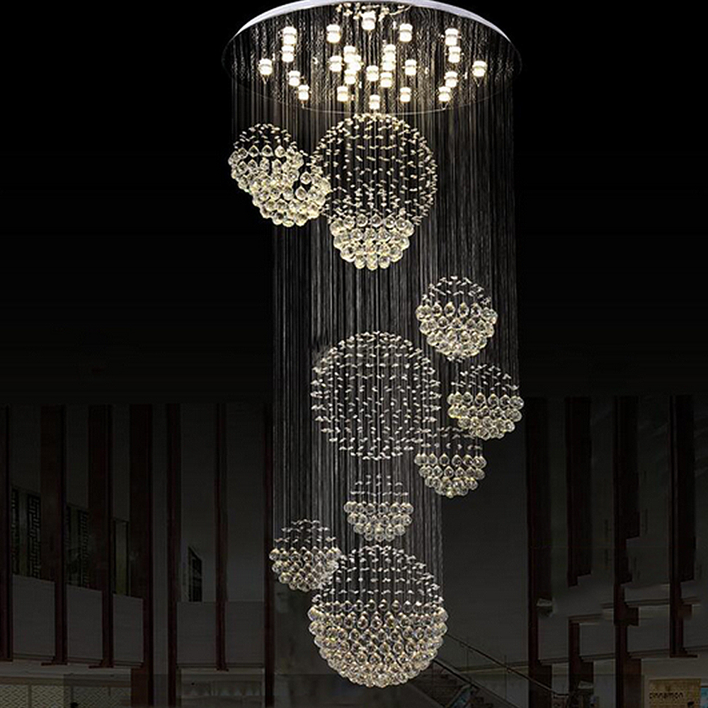 2016 NEW Double floor lamp house Lamp house living room LAMP is simple and modern stairs light hall crystal pendant lighting european style crystal lamp gold living room bedroom pendant light atmosphere double floor stairs restaurant pendant lights