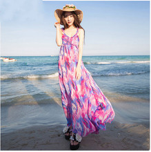 Пляж платье летом пляжный отдых богемский платье с длинным женский пояс соболезновать показать тонкие пляж шифоновое платье