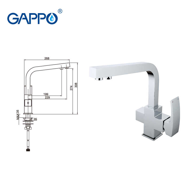 Gappo Kran Air dengan Air Yang Disaring Dapur Wastafel Kuningan Air Mixer Crane Torneira Dapur Filter Air Keran