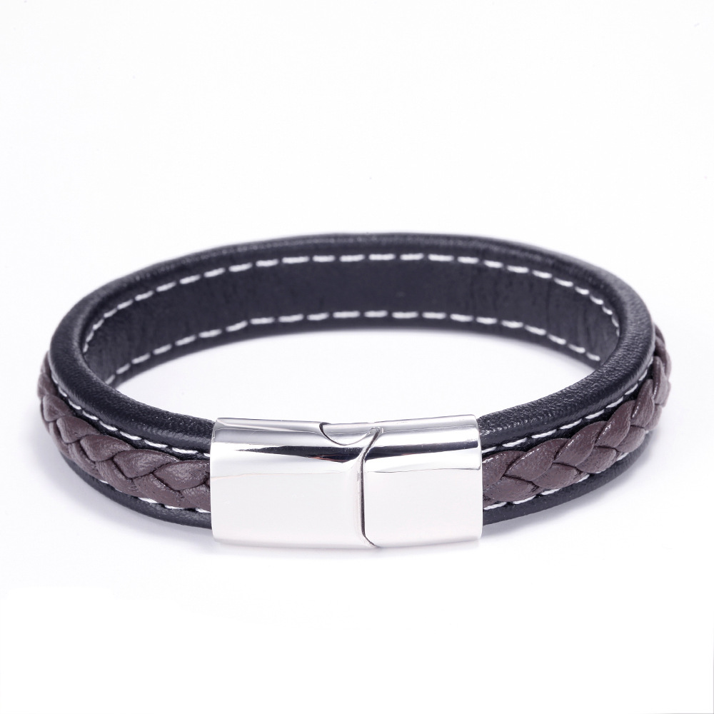 NEW Punk Men Jewelry Black Brown Braided Leather Bracelet Stainless Steel Magnetic Clasp Fashion Bangles in Charm Bracelets from Jewelry Accessories