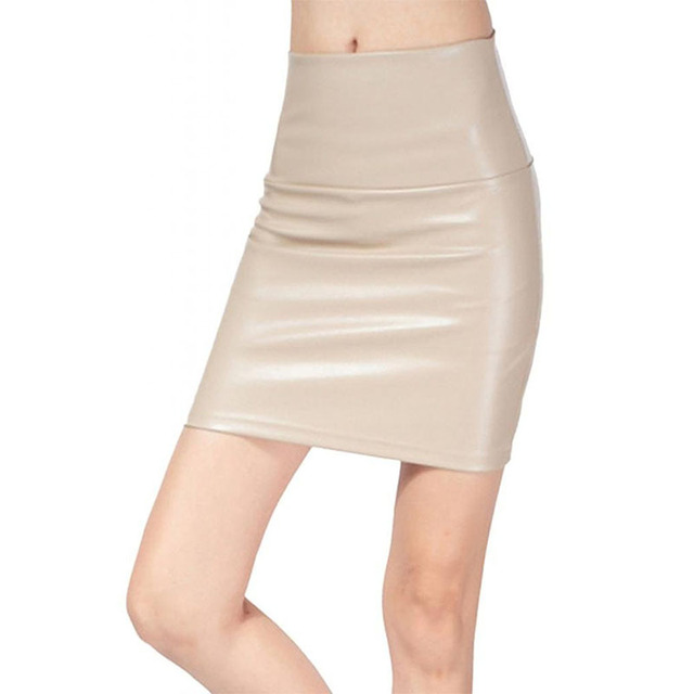 2018 spring autumn Fashion Women Skirts PU faux leather skirts tight stretch female short pencil mini skirt saias femininas 4