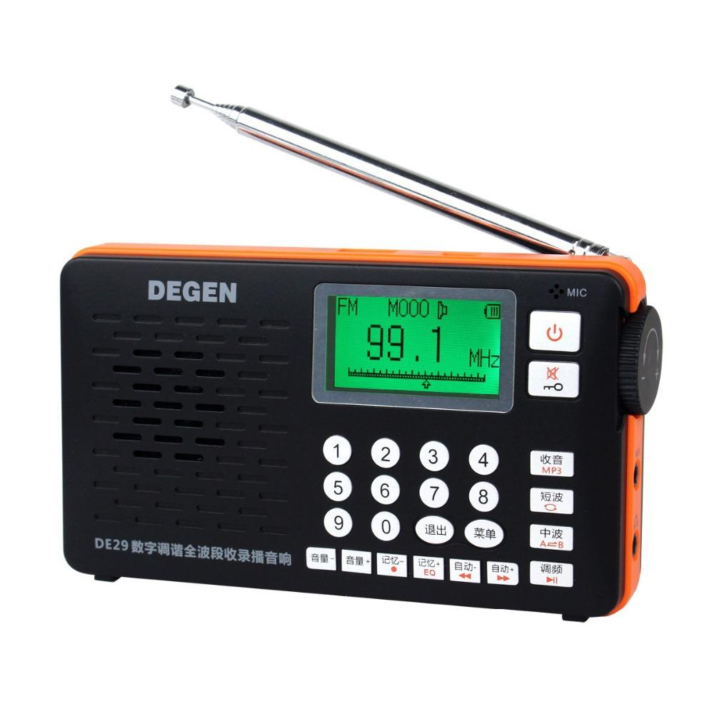 Best Price Degen DE29 FM Radio Digital Tuning Full Band Card Receiver Campus Portable Radio Wholesale Dropshopping Y4217A Eshow 2pcs degen radio de333 fm am receiver mini handle portable two band fm radio recorder a0796a