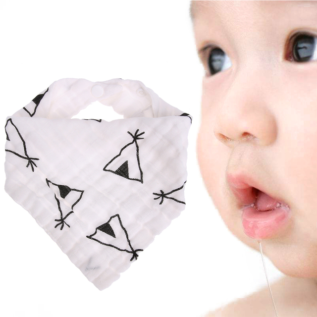 Baby Saliva Towel Kids Cute Printing Soft Cotton Triangle Newborn Toddler Triangle Scarf Infant Burp Bibs Cloths