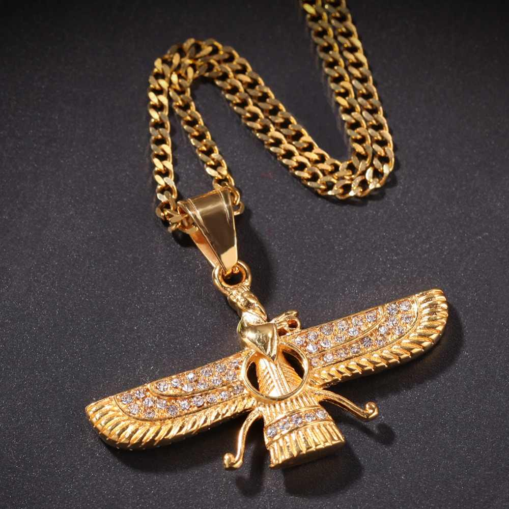Men Hip hop iced out Iran Faravahar Ahura Mazda Pendant necklaces vintage religion Zoroastrian Charm Necklace Hiphop jewelry