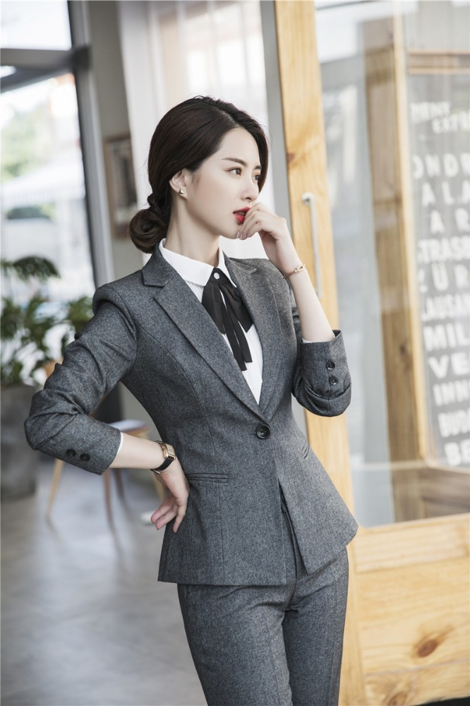 Novelty Grey Uniforom Designs Women Business Suits With Pants And Jackets Coat Office Ladies Autumn Winter Pantsuits Blazers