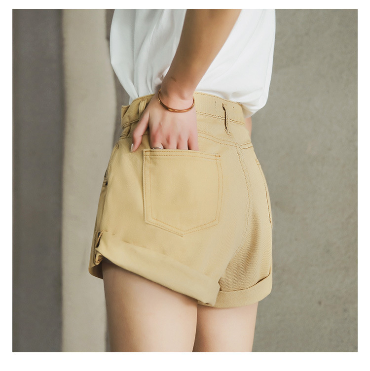 HTB1im7PPkPoK1RjSZKbq6x1IXXao - Streamgirl Denim Shorts Women's White Women Short Jeans Khaki Wide Leg Elastic Waist Vintage High Waist Shorts Women Summer