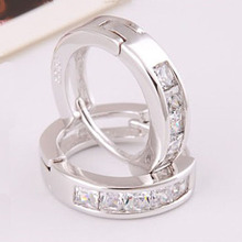 Gofuly Sale White Silver Plated Small Earrings Cz Diamonds Elegance Style Design Jewelry Hot High Quality Engagement Gift
