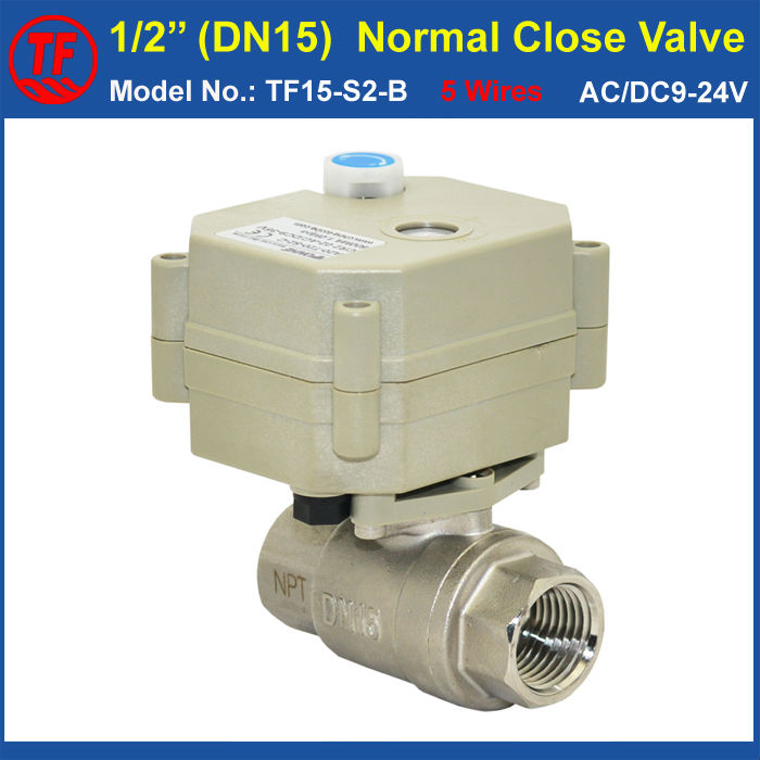 TF15-S2-B DN15 Stainless Steel Normal Close Valve 5 Wires  With Signal Feedback BSP/NPT 1/2'' AC/DC9-24V Electric Water Valve ac110 230v 5 wires 2 way stainless steel dn32 normal close electric ball valve with signal feedback bsp npt 11 4 10nm