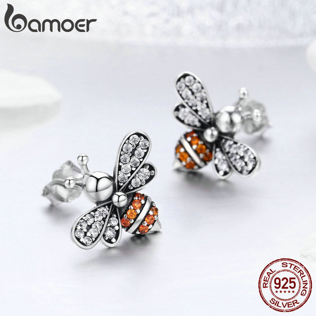 925 Sterling Silver Bee Exquisite Stud Earrings 4