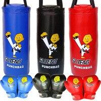 2 Set Cartoon Children MMA Boxing Sandbag with Gloves Single Fight Thai Sanda Punching Bag Kids Hook Hanging PU Leather Sand Bag