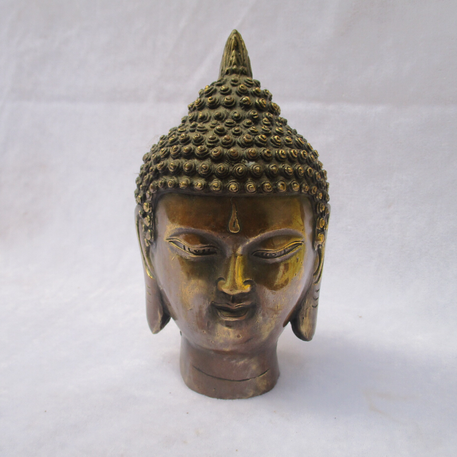 Collectible Chinese Decorated Old Copper Carved Buddha head Sculpture /Antique Buddha statue 04