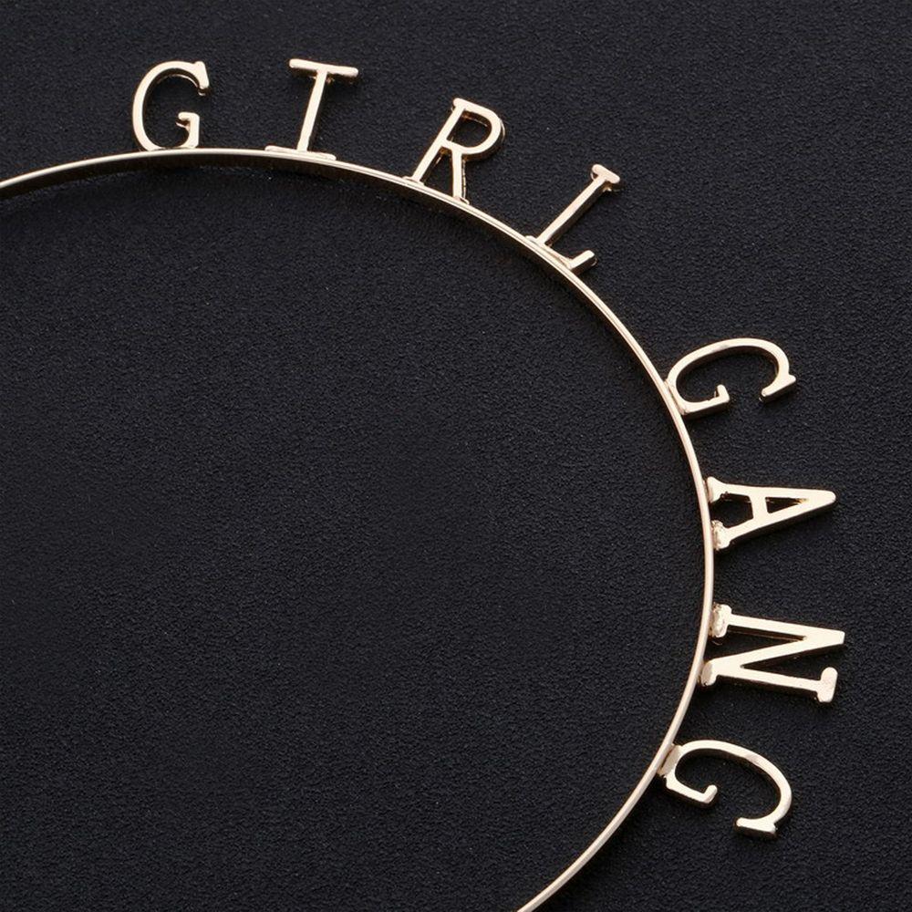 Gold Birthday Band Letter Girls Girl Gang Metal Headband Hairband