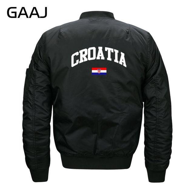 innovative design b6bc9 f7dda US $25.48 15% OFF|GAAJ Kroatien Flagge Jacken Männer Druck Militar Jacke  Wasserdichte Parka Warm Pilot Kleidung Fleece Mantel Bomber #09OZ0 in GAAJ  ...
