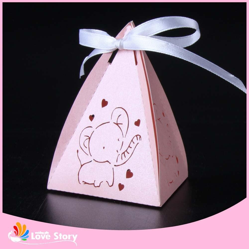 50pcs Lovely Baby Elephant Laser Cut Candy Box Gift Box Baby Shower ...
