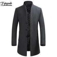 FOJAGANTO Men Winter Coat 2019 Men's New Fashion Brand Standing Collar Slim Fit Comfortable Pea Coat Male Trench Coat Overcoat