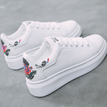 Women sneakers on the platform Embroider white designer for women height increasing vulcanize shoes