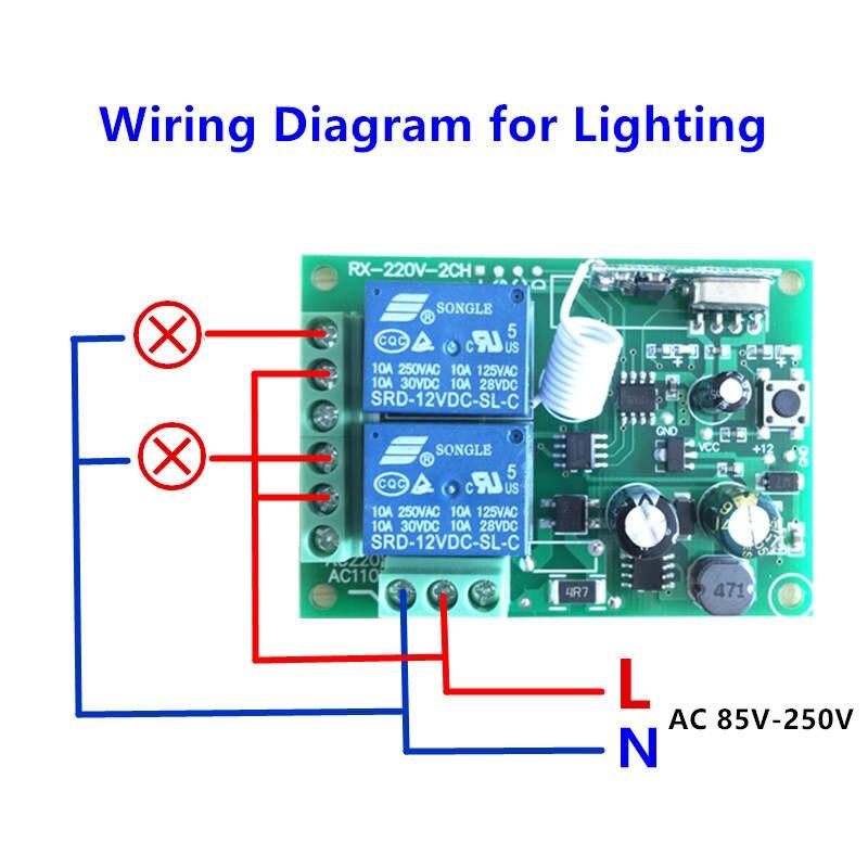 Image 4 - 433 МГц универсальный пульт дистанционного управления 220 В 2CH код 1527 передатчик пульт дистанционного управления RF релейный приемник для светового переключателя-in Пульты ДУ from Бытовая электроника