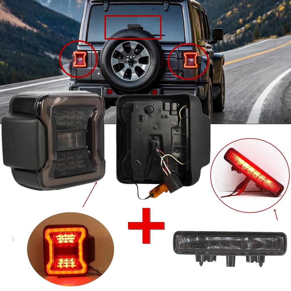 Pour Jeep Wrangler JL 2018 2019 feux arrière fumé LED feux arrière avec 3rd feu de frein lampe à LED rouge pour Jeep JL accessoires