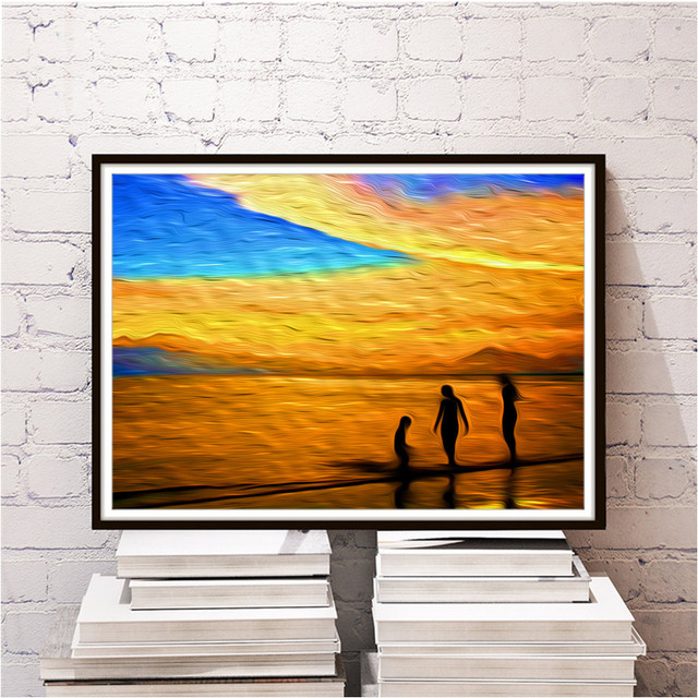 Free Ship Abstract Landscape Oil Painting Family Walk By Seaside Home Decor  Wall Sticker Print Poster Living Room Bar Cafe