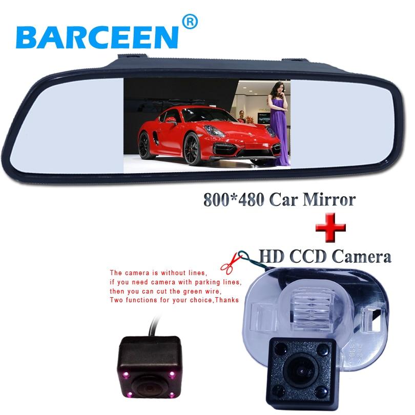 Einparkhilfe, HD 4,3 Farbe LCD Auto Rückspiegel + CCD Rückfahrkamera für Hyundai Verna Solaris Sedan/Für Kia Forte