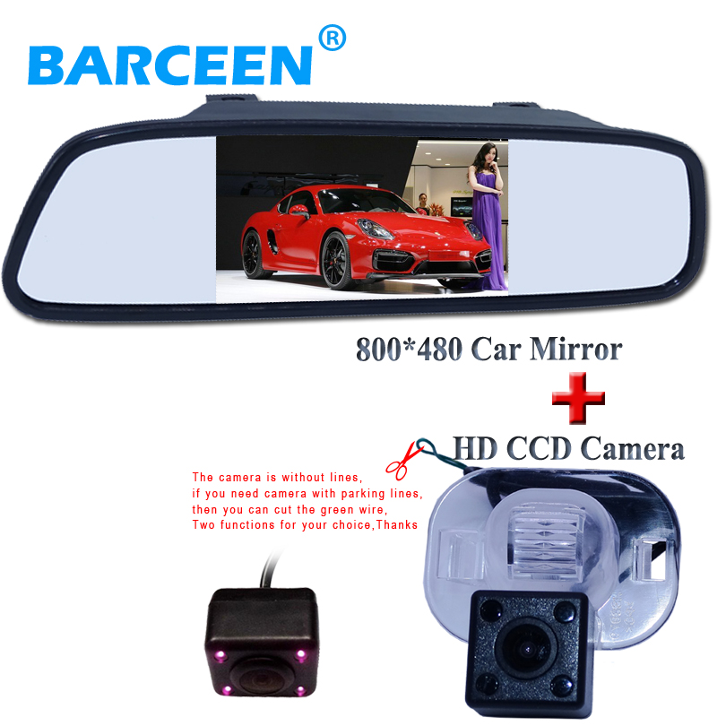 Parking Assistance, HD 4.3Color LCD Car Rearview Mirror +CCD Rear View Camera for Hyundai Verna Solaris Sedan /For Kia Forte
