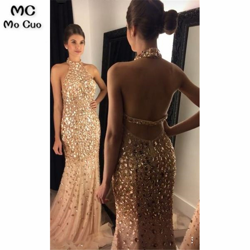 Illusion 2019 Halter Mermaid   Prom     dresses   with RhineStone long graduation   dresses   Gold Evening   Prom     Dress   for Women Custom Made