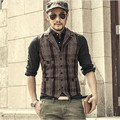 2016 Autumn Winter Men Quilting Plaid Cotton Padded Vest Waistcoat Fashion Sleeveless  Vest Males High Quality For Men   A2808