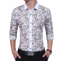 Brand 2017 Fashion Male Shirt Long Sleeves High Quality Floral Casual Youth Mens Dress Shirts Slim
