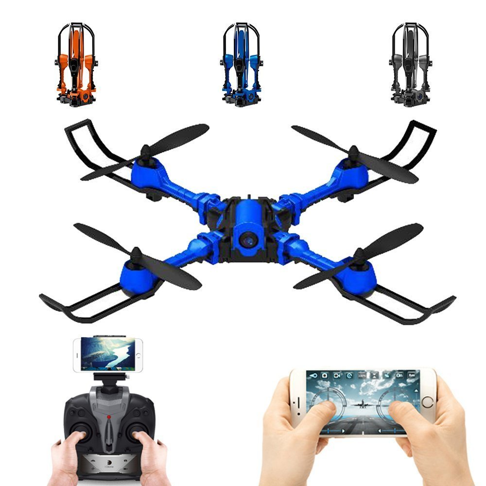 EBOYU(TM) i5HW Foldable RC Quadcopter Drone 2.4G 4CH WIFI FPV Drone 0.3MP Camera w/ Altitude Hold Headless Mode RTF jjrc h49 sol ultrathin wifi fpv drone beauty mode 2mp camera auto foldable arm altitude hold rc quadcopter vs e50 e56 e57