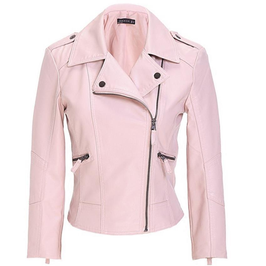 pink Motorcycle PU Leather Jacket Women Zipper Outerwear jacket