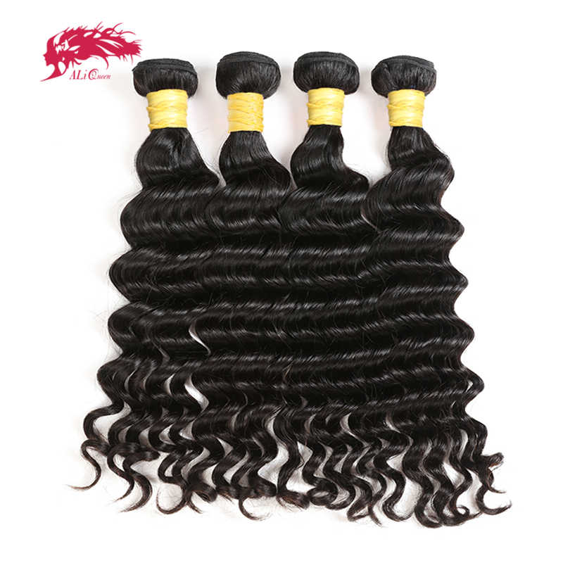 4 шт. индийские 10А натуральные волнистые волосы плетение пучки натуральный цвет человеческих волос Али Королева волос 10-24 дюймов Смешанная Длина прядь натуральных волос
